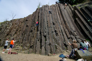 On a sunny afternoon in Eugene the climbing columns at Skinner's Butte fill up quickly. With routes that range from 5.6 to 5.11, it draws climbers of all ages and levels. (Jeff Matarrese/Oregon Daily Emerald)